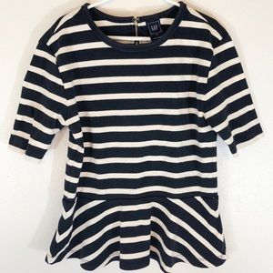 Navy Striped Peplum Thick Material Blouse